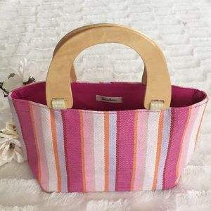 Neiman Marcus Stripe Tote with Wood Handles